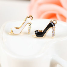 Mini Order 20PCS Fashion Women Fish Mouth High-Heeled Shoes Diy Pendants Charms Oil Drop Metal Alloy Bracelet Enamel Charm