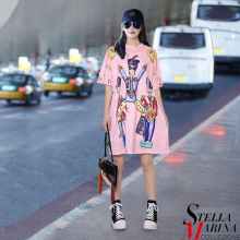 New Euro Women Spring Black Pink Characters Printed Dress O-Neck Half Sleeve Cute Ladies Knee Length Fashion Vestido Style 2105