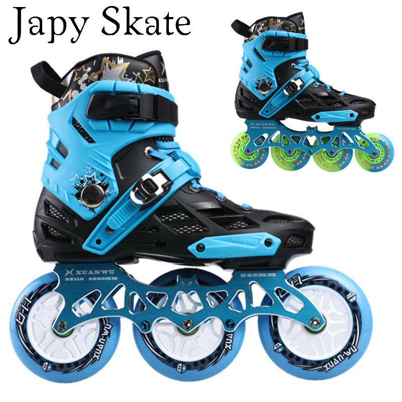 Japy Skate Professional Adult Roller Skating Shoes 4*80 Or 3*110mm Changeable Slalom Speed Patines Free Skating Racing Skates(China (Mainland))