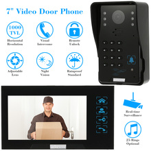 "KKmoon Wired Touch Key 7"" Video Door Phone Intercom Doorbell System Kit Night Vision 1 RFID Keypad Code IR Camera +1 Monitor(China)"