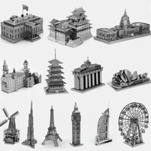 3D Building Metal Puzzle Neuschwanstein Opera House Eiffel Tower Windmill Metal Earth Jigsaw Puzzle Model For Adult/Kids Hot Toy