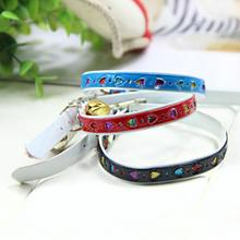 Hot Sale Colorful Glitter PU Material Dog Puppy Puppy Dog Cat Collars Necklace With Bells And Elastic Collar Led Dog Tag