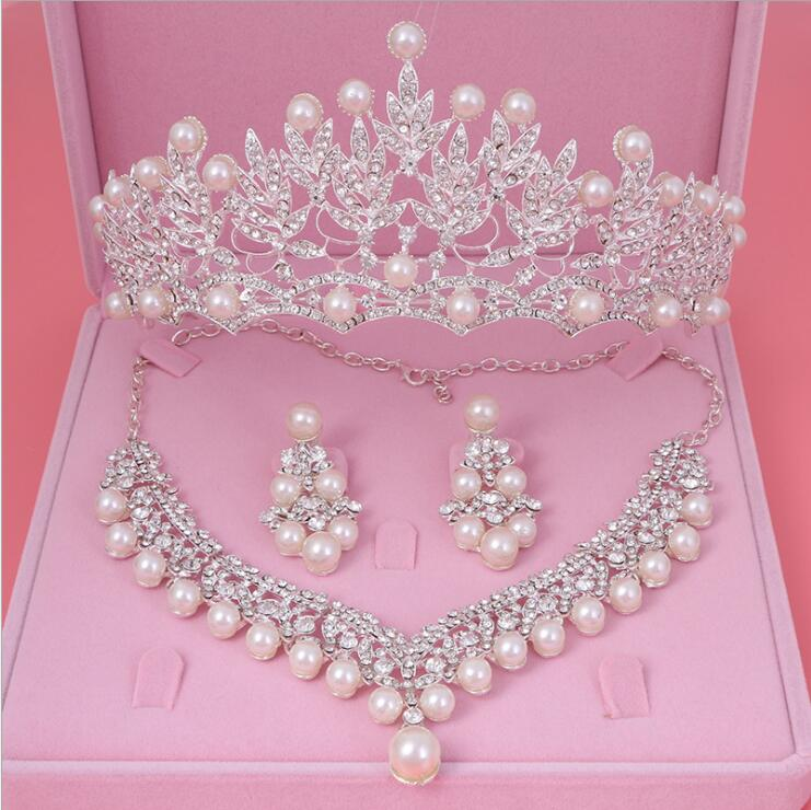 Womens Crystal Pearl Jewelry Hair Crown Headpiece Necklace Pendant Earrings Sets (2)