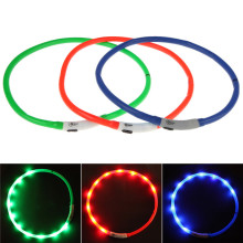 Waterproof Rechargeable USB LED Flashing Light Band Belt Safety Pet Dog Collar Blue Red Green