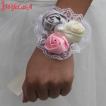 Wifelai-a 2pcs/lot 3 Rose Flowers Ivory Silver Pink Wrist Flowers Bride Ribbon Marriage Wedding Corsage With Lace Hand Flowers(China)