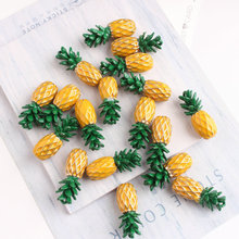 50PCS 9*22mm Alloy Metal Enamel 3D Pineapple Charms Oil Drop Pendant for Jewelry Making Findings
