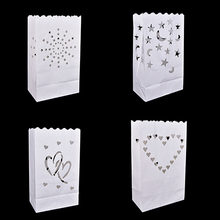 10PCS Wedding Heart Tea Light Holder Luminaria Paper Lantern Candle Bag Home Valentines Day Gifts Party Decor free ship