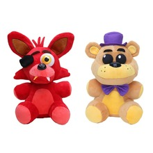 2pcs/set FNAF Plush 25cm Five Nights at Freddy's Sister Location Red Foxy Shadow Golden Freddy Bear Plush Doll Toy Kids Gifts(China)