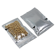 Silver / Clear Aluminum Foil Zip Lock Ziplock Stand Up Pouches Bag 300Pcs/lot Package For Dried Food Tea Coffee Packing Foil Bag