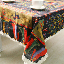 Gorgeous Ethnic Style For Christmas Cotton Linen Lacework Table Cloth Satin Tablecloth Cutwork Dustproof Table Towel Covers CT