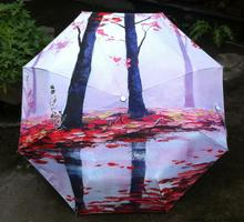 Landscape Fall Painting women umbrella traditional chinese painting rain umbrella for adults or kids(China)