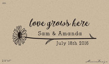 Let Love Grow sunflower Stamp Seed Favor Love grows here Wedding Favor Stamp Custom Rubber Stamp 2.5x1 inch