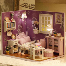 2016 HOT Doll House Furniture DIY Miniature Dust Cover 3D Wooden Dollhouse Toys Lover Girlfriend Valentine Gifts Sunshine Series