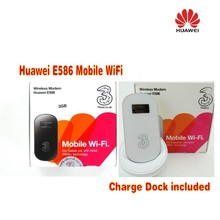 100% Original Full Unlocked Huawei E586 21.6Mbps 3G Wifi Router With SIM Card Slot and dock station(China)