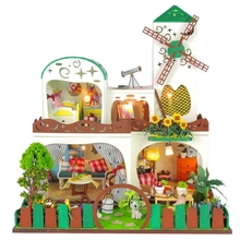 Green Windmill Large DIY Wood Doll house 3D Miniature Music box+Dust cover+Lights+Furniture Building model Home&Store deco toy