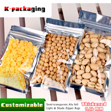 5 pcs 16x24cm Zip Lock Food Grade Material Alu Foil Clear Packing Bags for Snacks / Clear Front Zipper Bag for Food