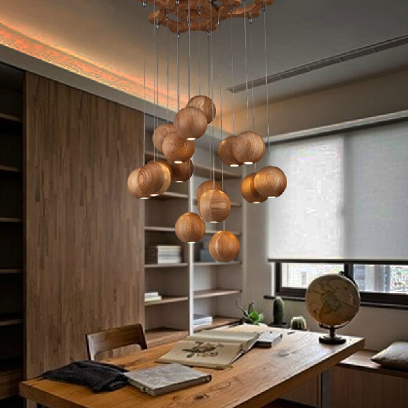 SinFull modern wood ball led pendant lights dining room adjustable suspension lamp bedroom indoor lighting fixture luminaria<br>