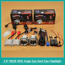"2.5"" H1 H4 H7 Motorcycle HID Bi-xenon Lens Headlight Projector Kit With Angel Eye Devil Eye Halo Headlamp Lenses Complete Kits"