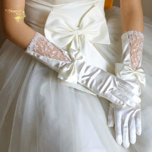 2017 Long Design White Red Satin Bow Lace Bridal Gloves Wedding Gloves Wedding Accessories G002