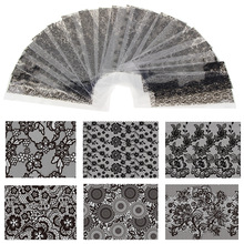 Hot Sale 20 Sheets/Lot 20*4cm Nail Art Transfer Foil Floral Serial Sexy Black Lace Pattern Nail Sticker Foil Material DIY WY188
