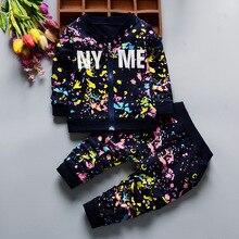 New SpringAutumn Baby Boys Girls Print Ink Clothing Suits Children Jacket Pants 2Pcs Sets Autumn Kids Clothes Toddler Tracksuits