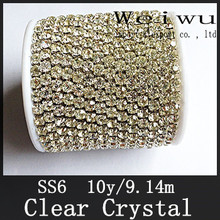Hight Quality 10 Yards Silver Base SS6 Clear Crystal Strass Rhinestone Cup Chain