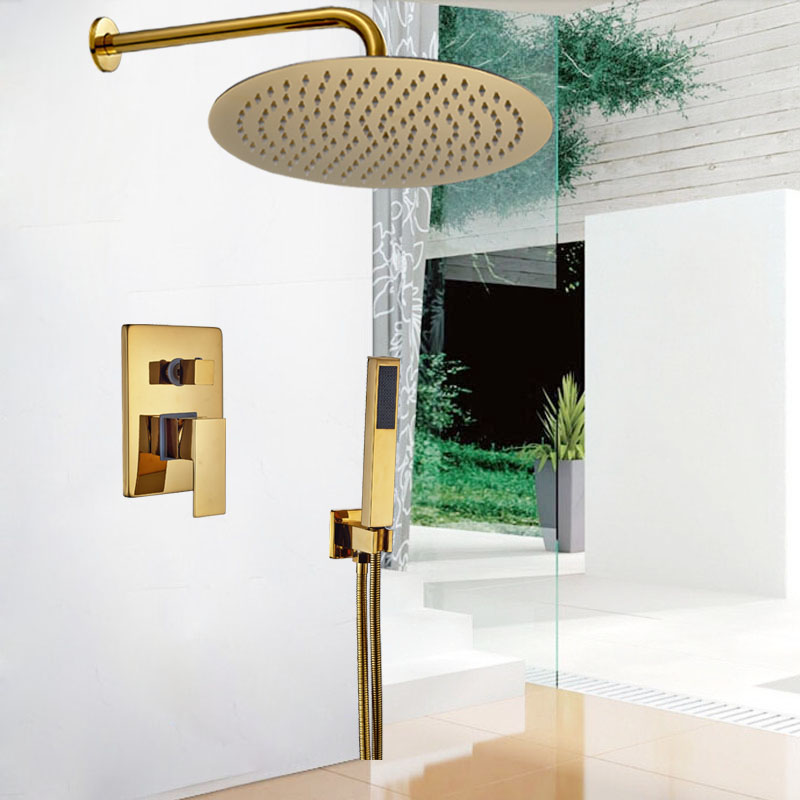 Classic Wall Mount Golden 10 Rain Shower Mixer Taps Single Handle with Handheld Shower Faucet Set<br><br>Aliexpress