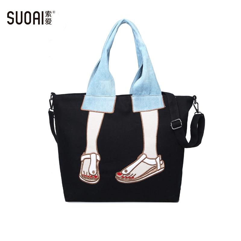 SUOAI Women Canvas Causal Totes  Fashion Female Luxury Handbags Big Shoulder Bags Brand Sac Special Girls Black Bag<br>