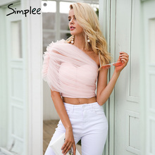 Simplee Sexy lace lining women tank top tees female Cold shoulder crop top camisole Fashion elegant ruffle pink short cami(China)