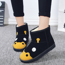 2017 Winter Woman Cute cartoon boots female flat short boots waterproof and velvet with thick warm cotton shoes women's boots