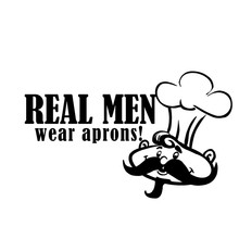 Big Beard Cook With A Cap Wall Decal Home Decor PVC Waterproof Real Men Wear Aprons Wall Sticker For Kitchen