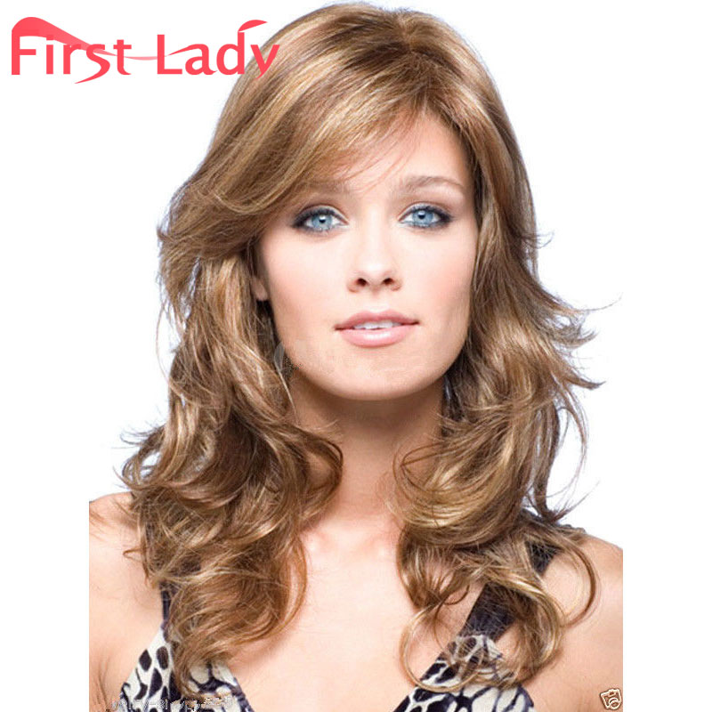 Hot Sale Natural Wave Medium Long Brown Blonde Mix Synthetic No Lace Hair Wigs Heat Resistant Heavy Density Women Bang Wigs<br><br>Aliexpress