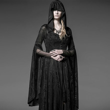 Steam Punk Gothic Women Hooded Lace Knit Dress Vintage Medieval Witch Cloak Dresses Full Flare Sleeve Halloween Costume Dress