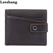 Leeshang Cow Leather Wallet Vintage Mens Coin Purse Solid Buckle 2 Folds Card Holder Large Capacity Wallets for Men Brand(China)