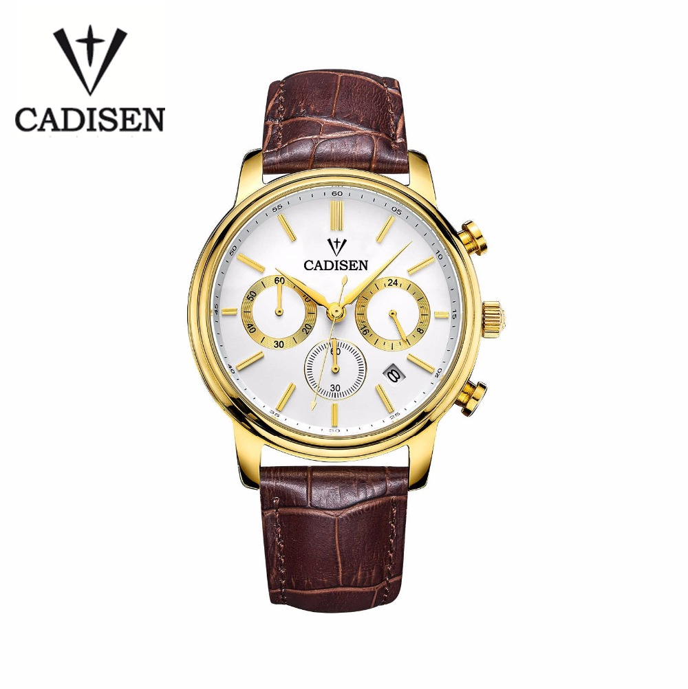 Cadisen Luxury Watch Men 6 Pointers Auto Date Genuine Leather Quartz-Watch 30M Water Resistant Watch Men Reloj Hombre Gold white<br><br>Aliexpress