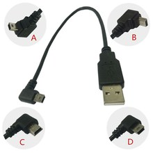 By DHL 100pcs/Lot USB 2.0 A Male Plug to Right Angled 90 Degree Mini USB 5P 5Pin Short Cable Adapter for MP3 MP4 Camera HDD 25CM