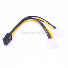 Factory price Dual 4 Pin IDE to 8 Pin PCI Express Video Card Power Cable Adapter Cord Computer Cables Connectors 10pcs/lot