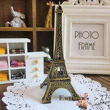 Home Decor 15cm Retro Alloy Bronze Tone Paris Eiffel Tower Figurine Statue Model