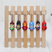 6pcs/set The Avengers keyrings Pendants Spider man Super Man Iron Man Batman Captain America Green Lantern PVC Figure Toys