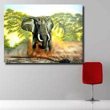 HDARTISAN Modern oil painting Running elephant Canvas looks Art Wall Pictures For Living Room Home Decor Printed