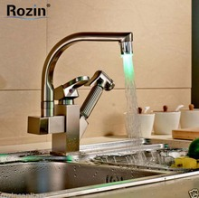 Nickel Brushed Pull Out Color Changing LED Kitchen Faucet Single Handle Double Spout Kitchen Mixer Taps(China)