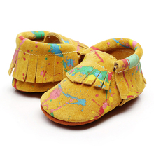 Baby Moccasins Soft Fringe Shoes Genuinu Leather Shoe Non-slip Footwear Toddler Kids Casual First Walker Shoes for Baby 0-18 M(China)
