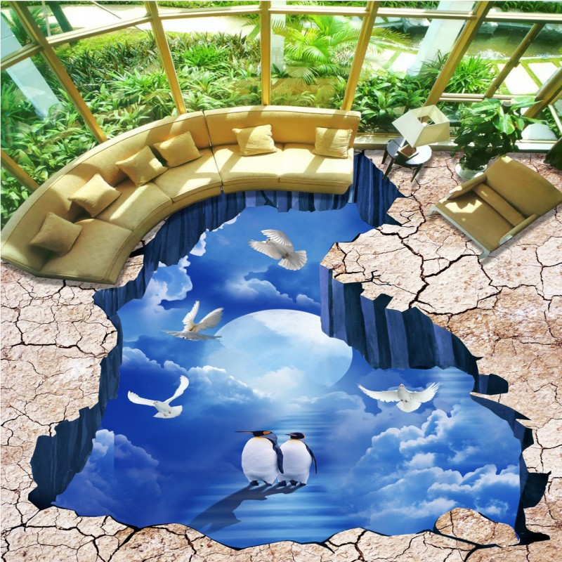 Free Shipping Ground Floor Sky Penguin 3D Floor Background PVC home decoration self-adhesive lobby flooring wallpaper mural<br>