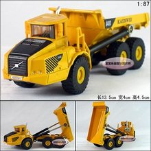 Candice guo! Mini 1:87 delicate yellow construction trucks/ dump trucks alloy model car toy car good for gift 1pc(China)
