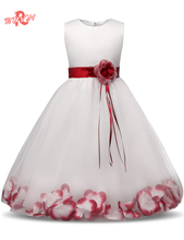 Fancy Flower Children's Princess Dresses Girl Kid Ceremony Party Clothes Junior Child Wedding Dress For Teen Girl Prom Ball Gown(China)