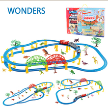 66pcs repackage Big size wheels Trains dinosaur theme Toy Electric Rail Road Trackmaster Motorized Brinquedos(China)