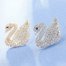 Fashion Zircon Swan Small Brooch for Women Men Suit Collar Brooch Pin Corsage Apparel Jewelry Accessories(China)