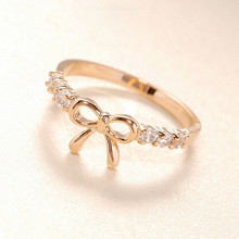 The Korean Jewelry Simple Crystal Bow Ring Gold&Silver For drop shipping Wholesale