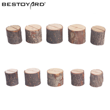 BESTOYARD 10 PCs Wooden Stump Shape Wedding Party Place Card Holder Stand Number Table Menu Picture Photo Clip Card Holder(China)