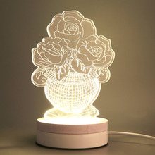 1pcs 2017 New Acrylic Rose&Bottle Transparent LED Modern 3D line Nightlight Touch Table Desktop Decorate Lamp Free Shipping
